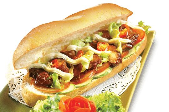 Bánh mì kẹp thịt gà khìa
