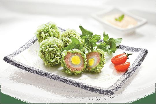 Trứng chiên cốm xanh