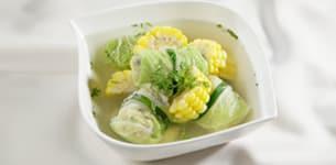 Canh cải gói thịt gà nấm hương