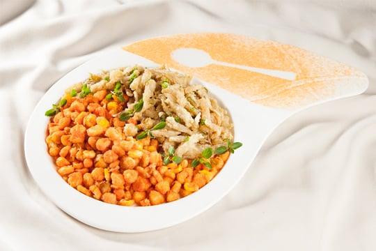 Cá cơm, bắp chiên phô mai