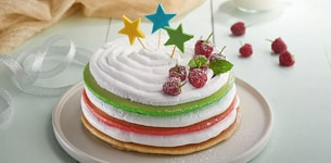 Bánh pancake sinh nhật sắc màu