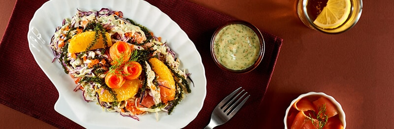 Salad rong nho cá hồi
