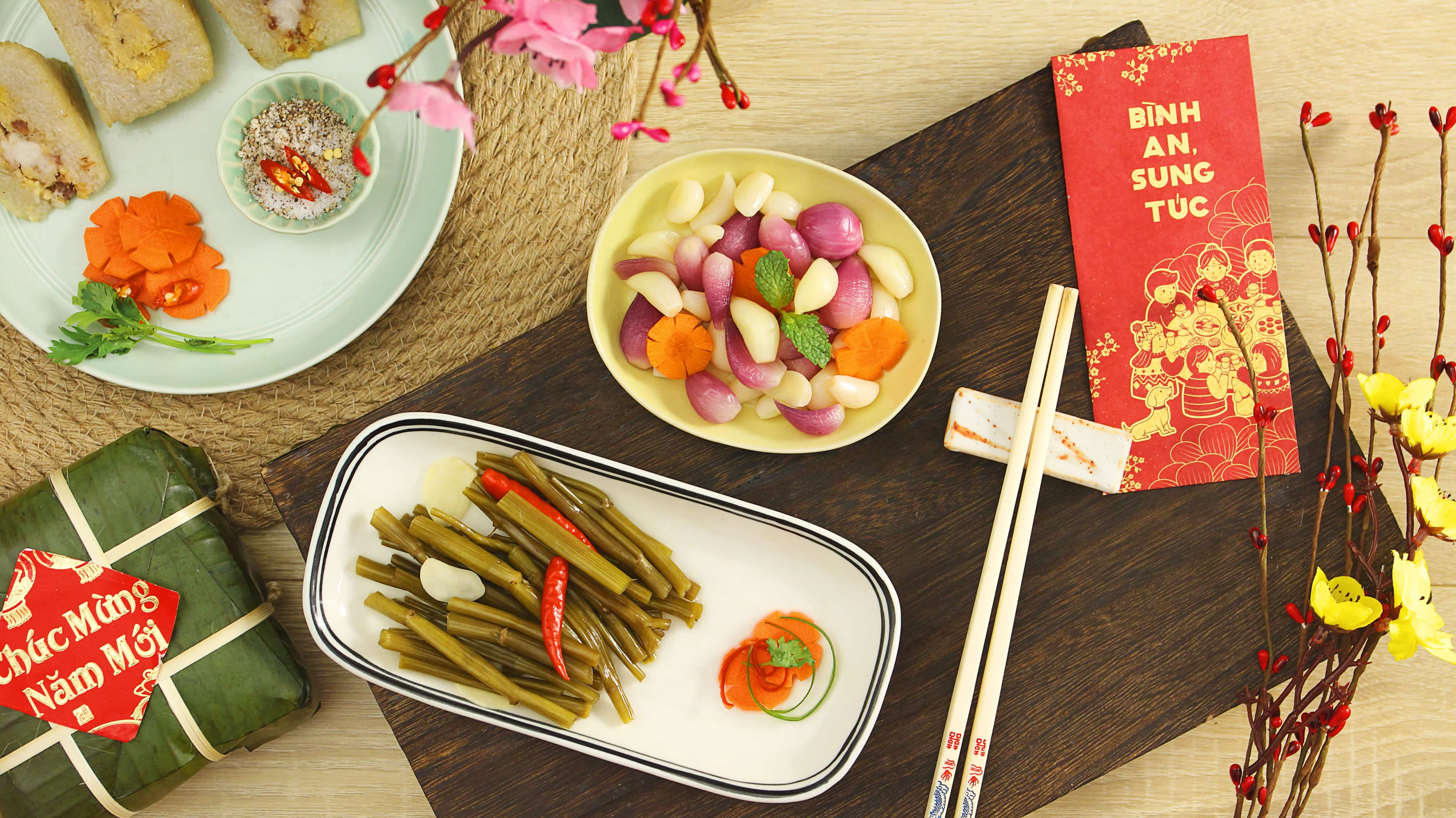 Làm RAU MUỐNG NGÂM GIẤM và HÀNH TỎI NGÂM ăn Tết là chuẩn nhất