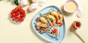 Salad cải mầm tôm chiên